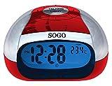 SOGO SS-3905R Reloj Despertador de Mesa con Voz Rojo