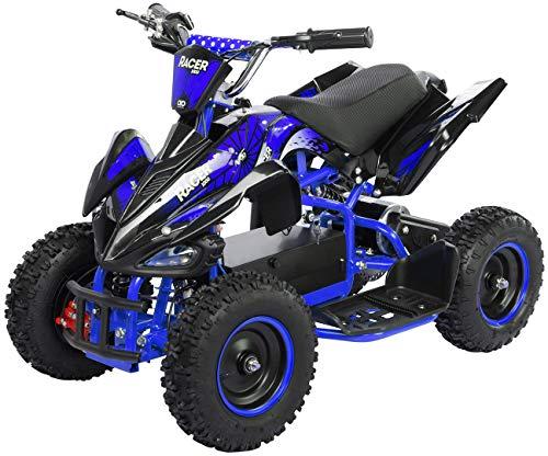 Actionbikes Motors Kinder Elektro Miniquad ATV Racer 1000 Watt 36 Volt - Scheibenbremsen - Safety Touch System Fußschalter (1000 Watt Schwarz/Blau)