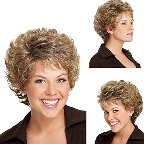 Golden Mujer corto rizado pelo ondulado pelo retro peluca moda natural completo Cosplay partido