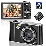Digitalkamera 4K Ultra HD 48MP Kompaktkamera 16X Digital Zoom 2.8'' LCD Bildschirm Wiederaufladbare Mini-Taschenkamera mit LED Fülllicht, 32G SD Karte und 2 Batterien, Geschenk für Kinder Anfänger…