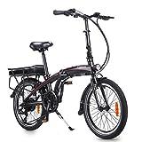 ZIEM Bici Eléctrica Plegable 250w, Bici De 20 Pulgadas E con La Batería 10ah 50 - Gama De Los 55km