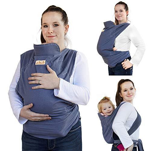 Viedouce Babytrage Ergonomische,Baumwolle Babytragetuch, Leicht atmungsaktiv Babybauchtrage Geeignet für Neugeborene, Kleinkinder von 3-36 Monaten (Blau)