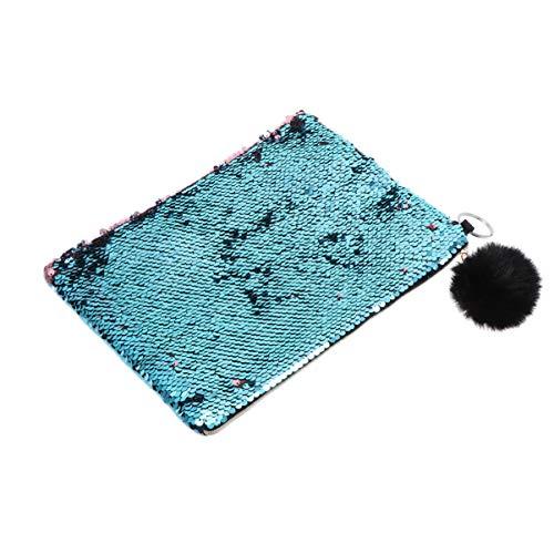 Minkissy Paillettes Maquillage Sac Sirène Mini Sac Cosmétique Paillettes Stylo Crayon Pochette avec Pompon Boule pour Femmes Filles (Bleu Et Rose)
