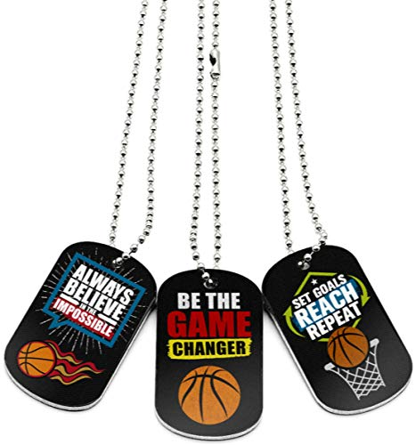(12-Pack) Basketball Dog Tag Necklaces with Motivational Quotes - Wholesale Bulk Basketball Giveaway Gifts for Party Favors and Goodie Bag Items - Unisex for Youth Teen Boys Girls Adult Men Women