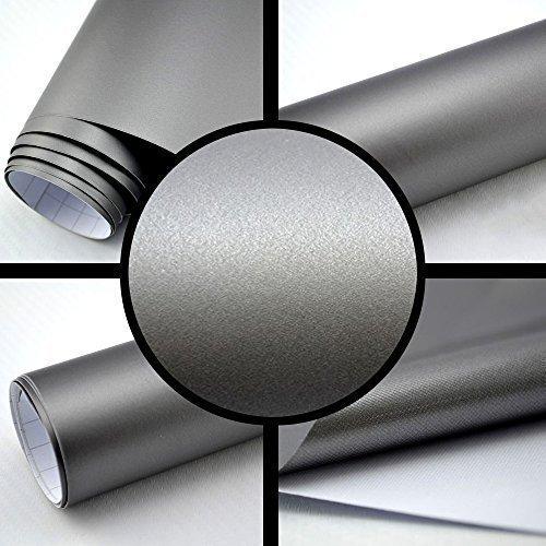 TipTopCarbon 6,57€/m² Autofolie Matt Silber-Grau 3m x 1,52m Auto Folie BLASENFREI mit Luftkanälen 3D Flex