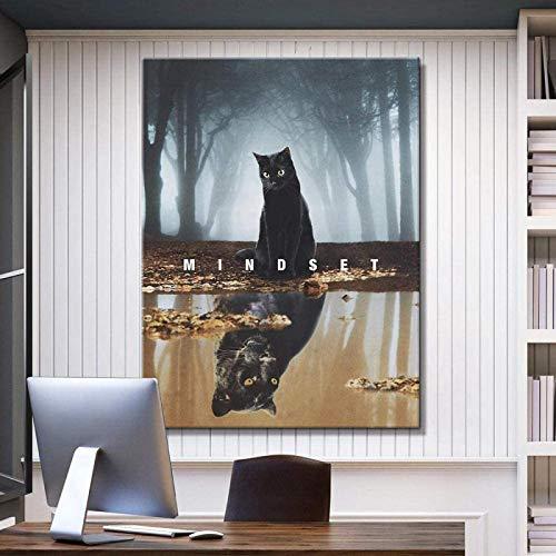 Póster arte de la pared 30x50 cm impresión de lienzo sin marco pintura inspiradora de gato y leopardo cartel de reflexión animal imágenes nórdicas modernas