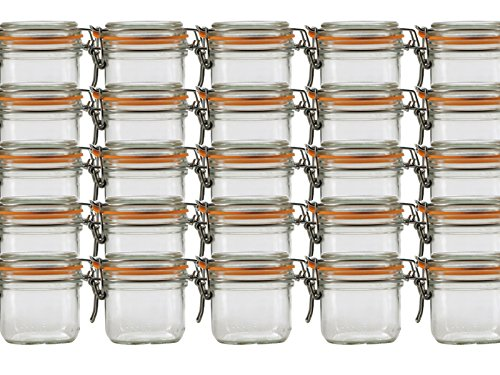 Vitrea 6 er Set Le Parfait Drahtbügelgläser 125 ml Drahtbügelglas mit Gummiring und Glasdeckel Einmachgläser