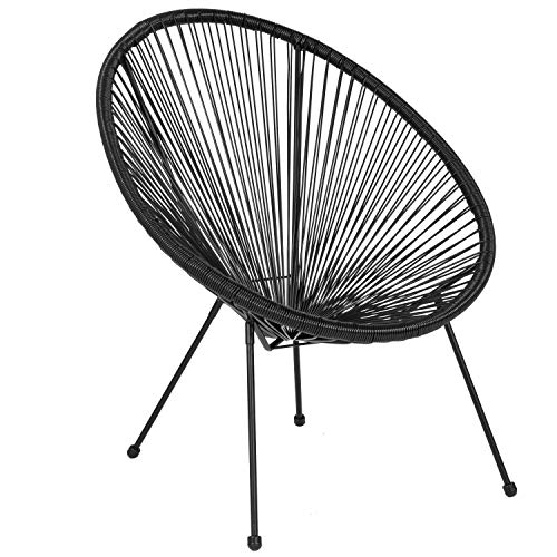 Flash Furniture Valencia Oval Comfort Series Take Ten Black Rattan Lounge Chair