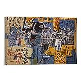 YGTD Cuadro de graffiti de Jean Michel Basquiat Bird on Money Pintura sobre lienzo para pared, póster de 60 x 90 cm