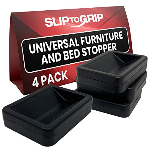 SlipToGrip Bed and Furniture Stopper (4, Black)