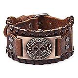 HLARK Bracciali Vichingo con Motivo Vegvisir con Amuleto in Stile Vintage Nordico, Gioielli Braccialetto da Uomo Vichingo (Marrone)