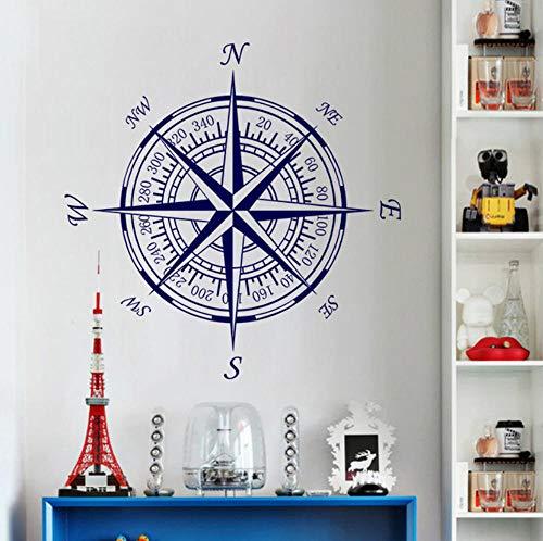 ZJfong 55x55cm diy wallpaper Brújula murales de pared personalidad brújula wallpaper home decor-b