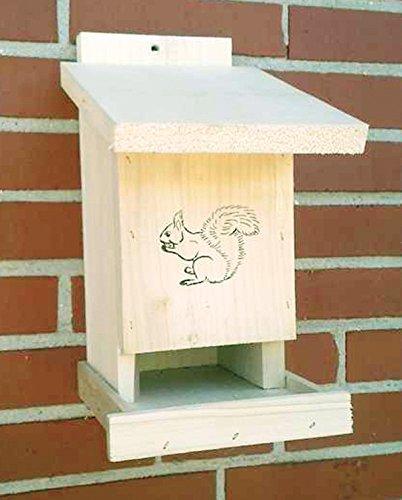 Vogelhaeuser-Raschen - Futterstationen für Eichhörnchen in Beige, Größe ca. 14 x 21 x 32 cm