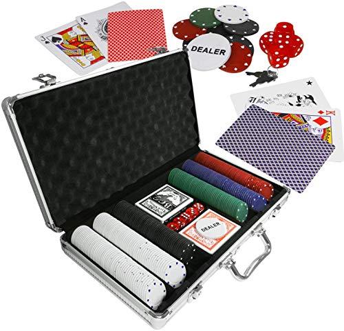 Eaxus®️ Edles Pokerset im Alukoffer - Pokerkoffer Royal Flush ♣️ 300 Chips Kartendecks