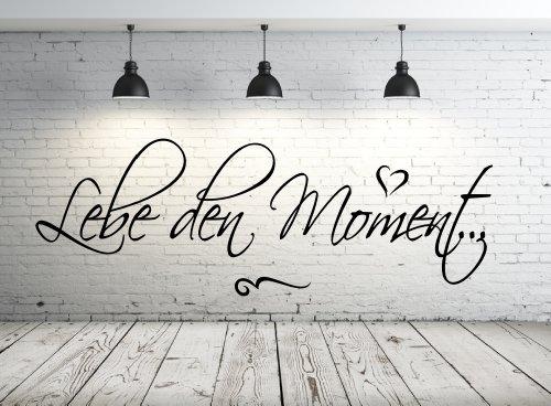 timalo® Wandtattoo Schlafzimmer, Wohnzimmer 68102-58x20cm, Text: Lebe den Moment, Wandaufkleber Wandtatoos Sticker Aufkleber, Tapetensticker, Türaufkleber