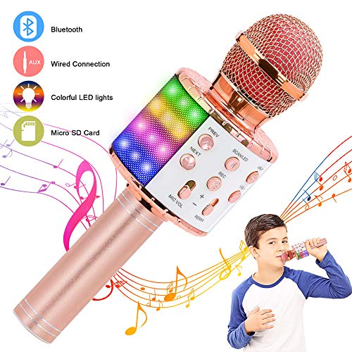 Verkstar Wireless Bluetooth Karaoke Microphone, Birthday Gift Toy for Kids with Controllable LED Lights and Recording Magic Sing Portable Handheld Karaoke Speaker Machine