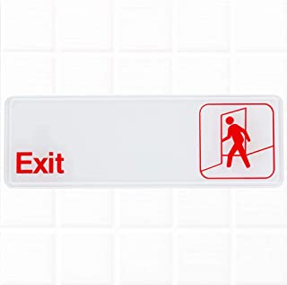 Exit Sign - White and Red, 9 x 3-inches Fire Exit/Fire Safety Sign by Tezzorio
