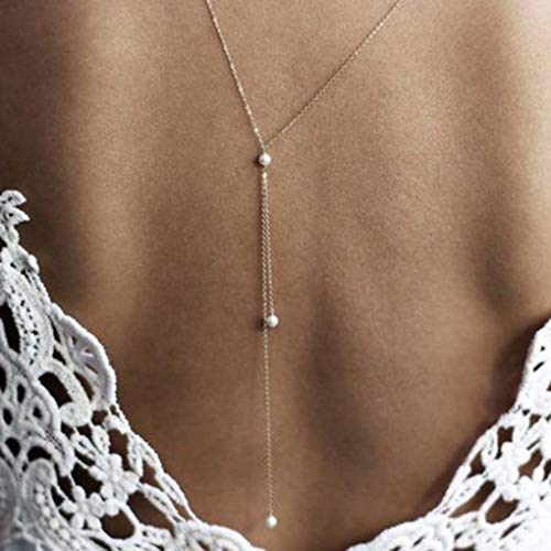 Tgirls Dainty Pearl Body Chain Sexy Backdrop Necklace Gold Body Jewelry for Women and Girls
