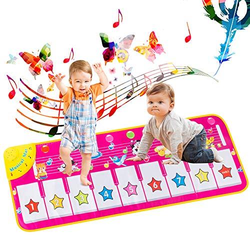 AOYMJRS Piano Mat für Kinder,Tanzmatte Klaviermatte Musikmatte Pianomatte 8 Tierstimmen Klaviertastatur Matten Spielteppich 9 Tasten Früherziehung Musical Tanzmatte für Jungen Mädchen Kinder 100*36 cm
