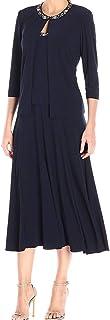 Alex Evenings Women's 2 Piece Tea Length Jacket Dress with Sequin Beaded Trim