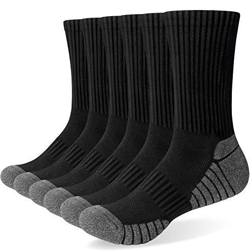 TANSTC Sneaker Socken Herren Damen Baumwolle Laufsocken Atmungsaktiv Weich Lange Warm rutschfest Sportsocken Schwarz Weiß Grau 6 Paar 43-46 39-42 35-38 47-50 Wandersocken