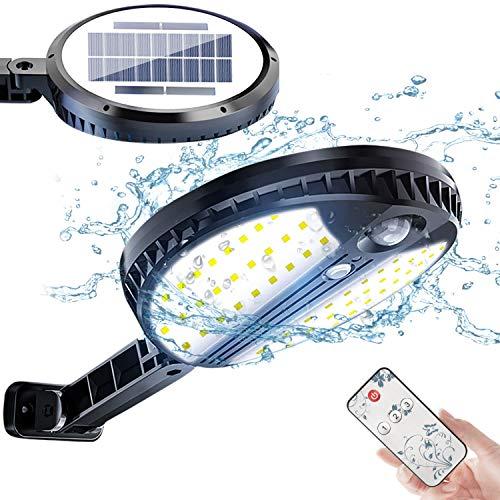 Luz Solar Exterior, Foco Led Solar Exterior con Sensor de Movimiento, 3 Modos de Iluminación, con Mando a Distancia, IP65 Impermeable, Lampara Solar para Patio, Jardín, Balcón, Garaje, Porche