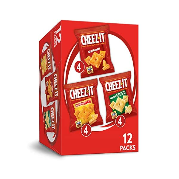 Cheez-It Variety Pack Cheese Crackers – Original, White Cheddar, Cheddar Jack, Single Serve Packaging,1.02 oz Bags (12 Count)