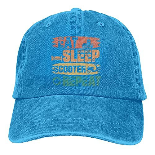 Gymini Eat Sleep Scooter Repeat Scooters Sombreros Algodón Lavable Gorras De Béisbol Ajustable Para Hombre Mujer Azul