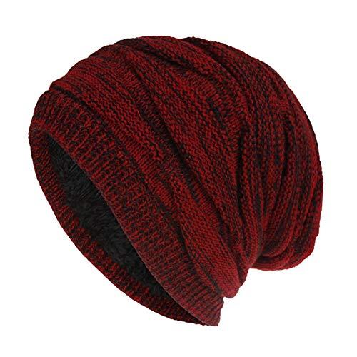 ZZNVS. Mischfarbe Baggy Mützen for Männer Winterkappe Damen Outdoor Motorhaube Skihut Weibliche Weiche Acryl Slouchy Strickmütze for Jungen (Color : Red)
