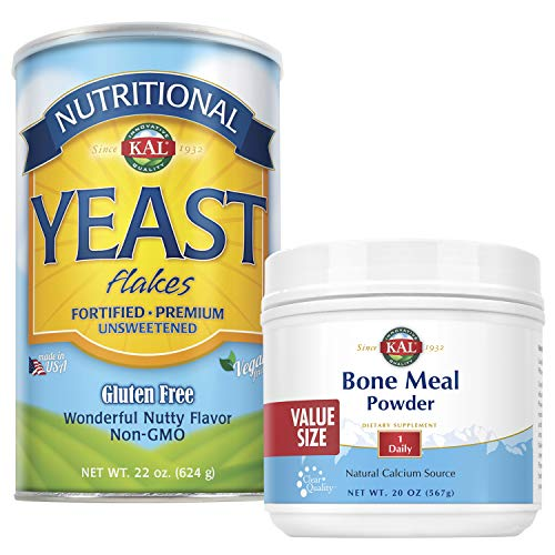 KAL Bone Meal Powder & Nutritional Yeast Bundle | Two Favorite Nutrition-Enhancing Products in One | 20 oz & 22 oz