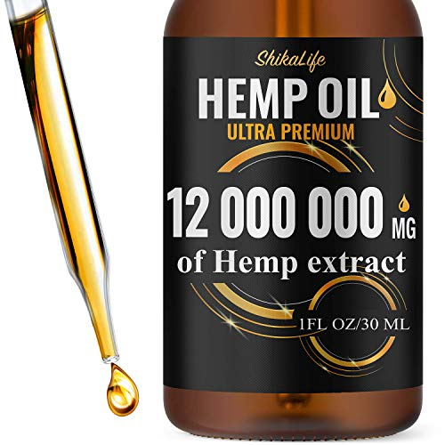 Hemp Oil Drops 12 000 000 mg, Co2 Extracted, Made in USA, Help Reduce Stress, Anxiety and Pain, 100% Natural Ingredients, Vegan Friendly, GMO Free