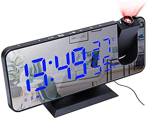 Projektionswecker Radiowecker Digital Wecker Funk FM Radio Uhr LED Digitale Schreibtischuhr USB-Aufladung für Schlafzimmer Büro Schreibtisch Wohnzimmer Dekoration-A