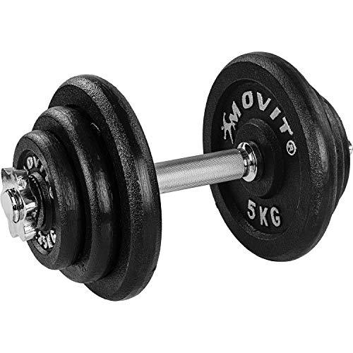 Movit® Kurzhantel PRO Set, Gusseisen Hantel, 1x 20kg, Stange 30mm Standardnorm, Griff gerändelt, Sternverschlüsse, Hantel Set Kurzhantelset Gewichte