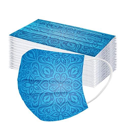 Hanomes 50 Stück Mundschutz Musterdruck 3-lagig Druck Face Cover Atmungsaktiv Mund und Nasenschutz Bedeckung Multifunktionstuch Halstuch