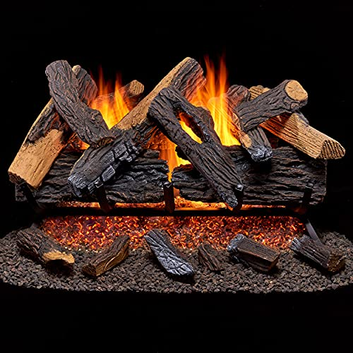 Duluth Forge Vented Natural Gas Fireplace Log Set Set-65,000 BTU, Heartland Oak, 30 Inch