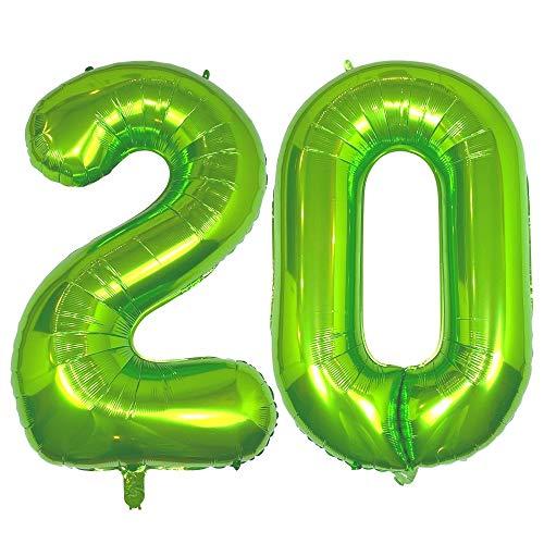 DIWULI, gigantische XXL Zahlen-Ballons, Zahl 20, Luftballons grün, Zahlenluftballons, Folien-Luftballons groß Nummer Nr Jahre, Folien-Ballons 20. Geburtstag, Party-Deko, Dekoration, Geschenk-Deko
