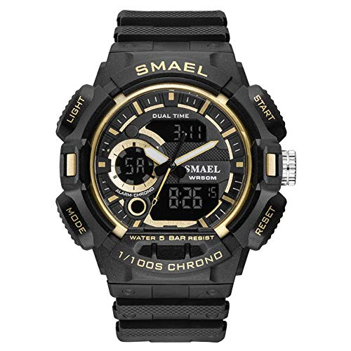 SMAEL Relojes Deportivos para Hombre Resistente Al Agua Digital Militares Relojes con Cuenta Atrás para Los Hombres Niños Grandes LED De Analógico Relojes De Pulsera para Hombre (Azul),Black Gold