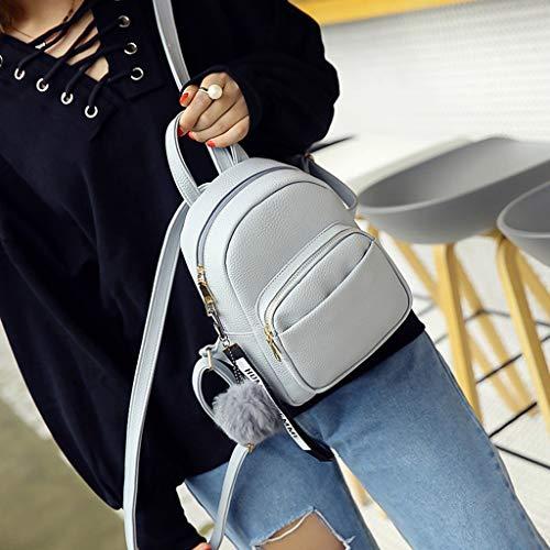RK-HYTQWR Women Pu Leather Backpacks Mini Cute Travel Rucksack Ball Pendant Shoulder Handbags School Bag,Soft Leather Girls Backpack,Black