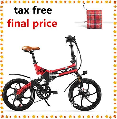 RICH BIT ZDC RT-730 Bicicleta eléctrica Plegable de 20 Pulgadas 48v 8ah batería Oculta Hidden Libre de impuestos (Rojo (con Cesta Delantera))