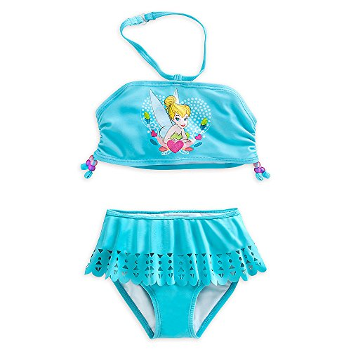 Disney Store Tinker Bell 'Diving Bell' 2-Piece Swimsuit for Girls, Size 5/6, Blue