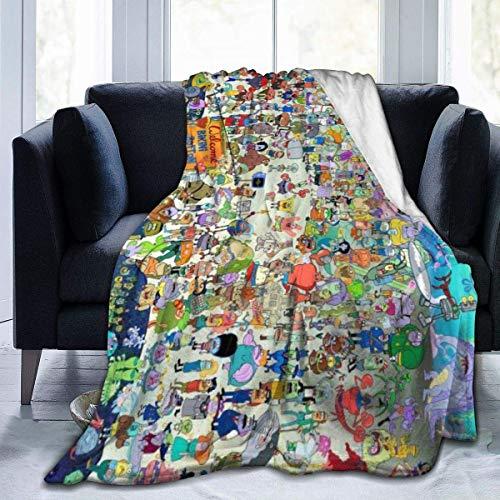 NR Spongebob Throw Decken Mikrofaser Tagesdecken Fleece Decken Werfen Ultra Soft Coral Bettdecke für Schlafzimmer Wohnzimmer Sofa Couch, 80x60 Zoll