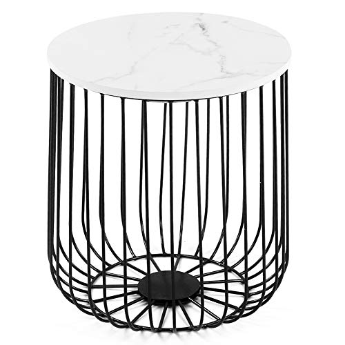 Genericer Tea Table Side Table,Retro Elegant Style Iron Frame Storage Basket Home Furniture for Bedroom Living Room(14.2 x 15.8in) (Black and White)