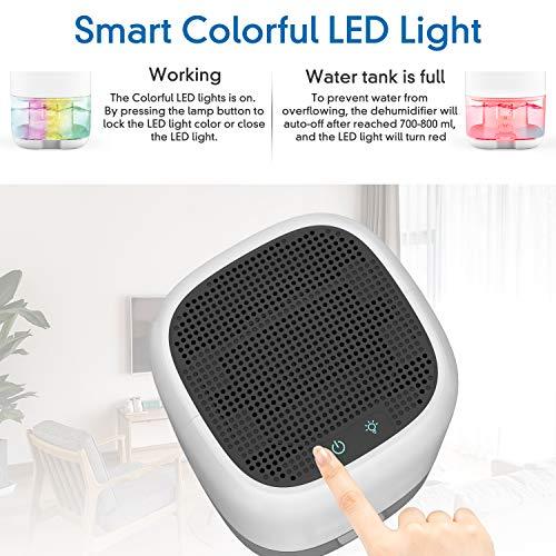 AUZKIN Portatile Deumidificatore per ambienti,1L, 7 Colori LED, Auto-off, Anti-umidità e anti-odore, Purificatore per Bagno, Cantina,Appartamento, Garage