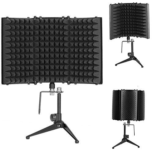 Protector de sonido, filtro de reflectante y bola vocal, micrófono acústico ajustable, escudo de aislamiento con trípode para grabar micrófono de estudio vocal, 32,8 x 20,8 cm
