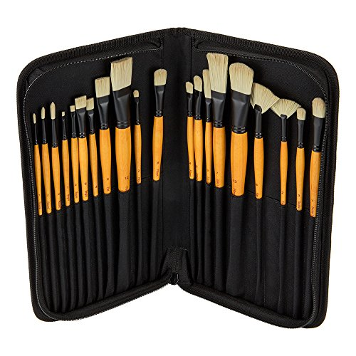 Creative Mark Paint Brush Set Mimik Hog Professional Synthetic Hog Bristle Brushes for Acrylics, Inks, Dyes, Gouaches, Watercolors, Easein & Egg Tempera - [Deluxe 20 Piece Set w/Leather Case]