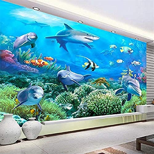 Custom murals 3D Stereo Photo Wallpaper sea Bottom Story Dolphins TV Background Wall Living Room Bedroom 3D Wallpaper Paste Living Room The Wall for Bedroom Mural-400cm×280cm