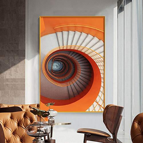 Mubaolei Pintura Decorativa Abstracta Minimalista Moderna Cuadro de Arte de Pared Pintura de Escalera Lienzo Pintura Carteles e Impresiones 60x80cm