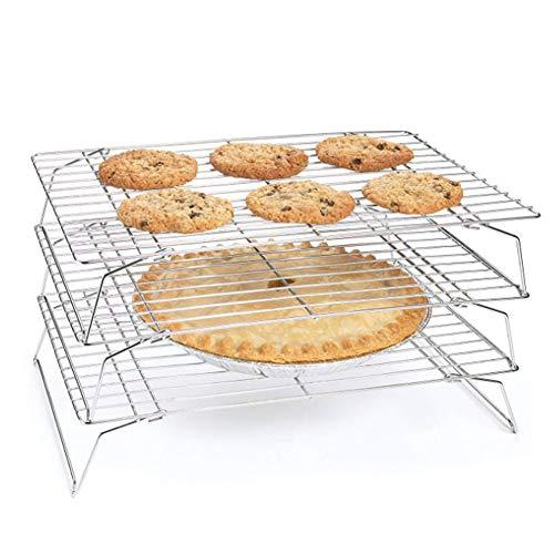 Felenny Rejilla para Enfriar 3 Niveles Patas Plegables Cocina Hornear Herramienta para Asar a La Parrilla para Galletas Pasteles Bollos Muffins