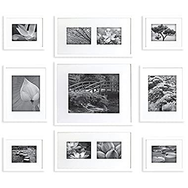 Gallery Perfect 9 Piece White Wood Photo Frame Wall Gallery Kit. Includes: Frames, Hanging Wall Template, Decorative Art Prints and Hanging Hardware