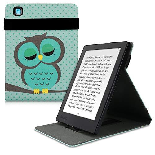 kwmobile Funda Compatible con Kobo Aura H2O Edition 2 - Carcasa para e-Book de Cuero sintético - búho dormilón Turquesa/marrón/Menta
